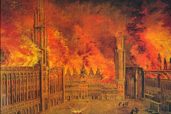 1695, Bruxelles réduite en cendres par le Roi Soleil